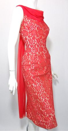 50s cocktail dress of peony pink lace layered over white acetate