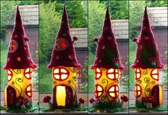 vervilt fee lamp, paddestoel, nachtlamp, nachtlampje, handgemaakt, wol, vilt, fee licht, Waldorf geïnspireerd