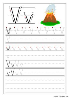 FREE Tracing Worksheet for Kids. Education Craft and Worksheet for PreschoolToddler and Kindergarten. Learn to write the alphabet with 123 Kids Fun. Alphabet Writing Practice, Kids Writing, The Alphabet, Volcano Activities, Montessori Activities, Free Printable Alphabet Worksheets, Preschool Worksheets, Numbers Kindergarten, Kindergarten Lessons