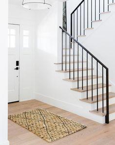 Black Stair Railing, Wrought Iron Stair Railing, Black Stairs, Iron Staircase, Staircase Railings, Staircase Design, Staircases, Staircase Ideas, Iron Balusters