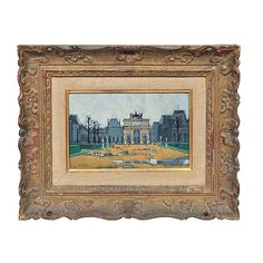 Pre-Owned The Louvre Museum Paris France (2,140 CAD) ❤ liked on Polyvore featuring home, home decor, wall art, paris wall art, parisian wall art, gold home decor, gold wall art and parisian home decor