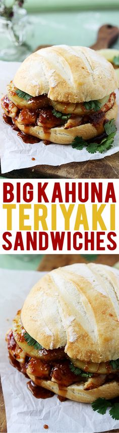 Chicken, ham, pineapple, and loads of teriyaki sauce turn this into a MEGA sandwich! Mega Sandwich, Soup And Sandwich, Sandwich Recipes, Chicken Sandwich, Paninis, Delicious Sandwiches, Wrap Sandwiches, Great Recipes, Dinner Recipes