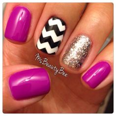 Orchid Chevron Glitter Nails.  Gelish - Tahiti Hottie from the Colors of Paradise 2014 Summer Collection.  Glitter Nail - Am I Making You Gelish? Layered over Girls' Night Out.  Middle Finger - Artic Freeze and Konad Black Polish.  Chevron Nail Vinyls from @Teismom #NailVinyls #TahitiHottie #Orchid