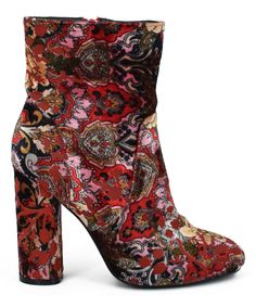 Red Abstract Chelsey Bootie