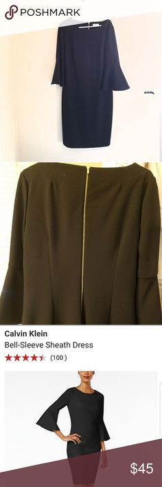 Black Calvin Klein dress Black Calvin Klein bell sleeve dress in excellent condition. Calvin Klein Dresses Midi