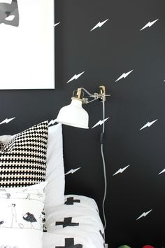 We are absolutely in love with how @TheWinthropC styled our Lightning Bolt Mini Pack Wall Decals for her boys' superhero themed bedroom. Classic, modern and SUPER chic,  we're thinking her boys will love this room for years to come.
