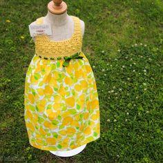 Lemon Lime Crochet Fabric Cotton Summer Dress by TenTinyPiggies on Etsy