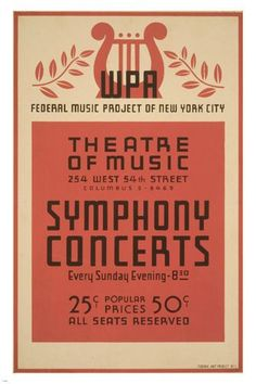 NYC SYMPHONY CONCERTS vintage 1941 poster 24X36 Federal Music Project NEW - PW0