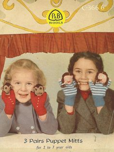 childrens toy mittens vintage baby knitting pattern by Ellisadine, £1.00