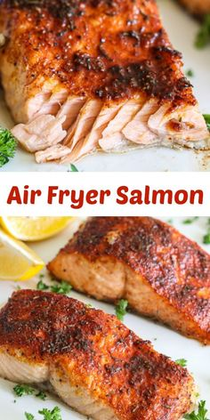 This Flaky Air Fryer Salmon is a quick, healthy, and delicious meal. You& love the convenience and amazing flavors in this seafood recipe. Air Fryer Oven Recipes, Air Frier Recipes, Air Fryer Dinner Recipes, Air Fryer Recipes Ground Beef, Air Fryer Recipes Salmon, Convection Oven Recipes, Grilled Salmon Recipes, Easy Salmon Recipes, Grilling Recipes