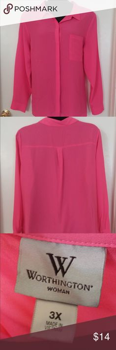 Hot Pink Button Up Shirt Fabulous neon piece! Great to add a pop of color to that boring work outfit or make a trendy outfit. Small blemish on back of left shoulder (shown in photo).  Also available in White and Bright Blue. (Same size, 3X) Worthington Tops Button Down Shirts