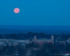 Full moon over Old Main, University of Arkansas, Fayetteville, AR