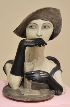 Bedřich Stefan, Girl with absinth (1924), polychrome burnt clay, National Gallery, Prague