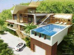 Casa de estilo moderno com piscina em andar superior