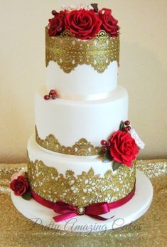 Stunning antique gold lace wedding cake with ruby red roses. by www.prettyamazingcakes.co.uk