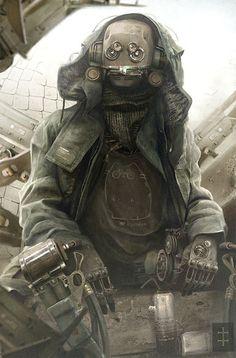 Dystopische Roboter Reisender. 1036