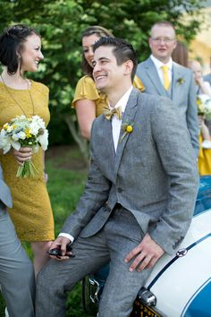 gents in gray + yellow | Stephanie Fay #wedding