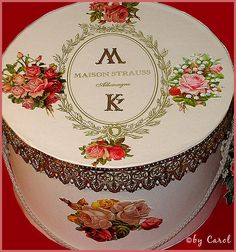 Romantic hat box by Boxwoodcottage, via Flickr....embellished for a rose lover!