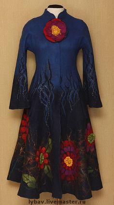 Купить Неподражаемая Фрида - Фрида Кало, валяное пальто, viva la vida, тёмно-синий