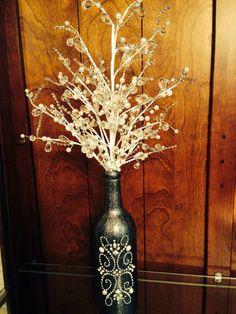 Decorated Wine Bottle Centerpiece, Black & Silver. Wine Bottle Decor. Wedding Table Centerpieces. Centerpiece Ideas
