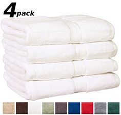 Utopia Premium Extra Large Bath Towels 100% Cotton, Soft and Absorbent, 4-Pack, White
