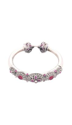 Ruby Stone Studded and Floral Filigree Oxidized Silver Bangle