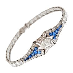 Diamond Sapphire Platinum Art Deco Bracelet    1930s