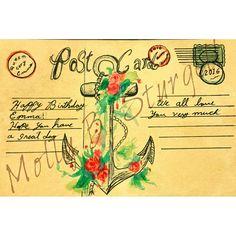 Watercolor ink postcard birthday card by Molly B. Sturgell