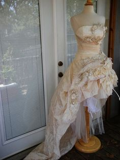 RESERVED for ASHLEY Handmade Wedding Dress Mini Plus Tail Beige Roses Embroidered Appliques Size 10-12