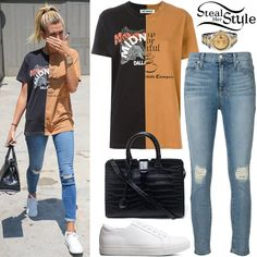 Hailey Baldwin was spotted walking around West Hollywood wearing an Off-White Bi-Color T-Shirt ($257.75), Ksubi Hi & Wasted Jeans ($139.00), a Saint Laurent Cabas Croc Small Tote Bag ($1,840.00), a Rolex Datejust II Watch ($11,390.00) and Kenneth Cole Kam Sneakers ($120.00).
