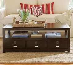 Pottery Barnu0027s Rhys Coffee Table In Dark Wood With Labeled Drawers For  Storage. On #