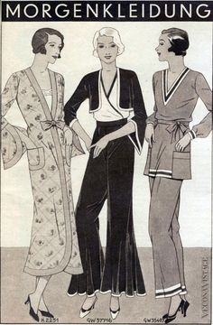 veconavintage:  Vecona Vintage Special - Pajamas of the 1930s Morning ensembles Germany 1932 If you like the style and would like to get your own pair please visit the Vecona Vintage Shop or the VECONA website  for your custom made pants.