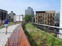 When youre walking along New York Citys High Line, its easy to forget that this elevated park is also an urban thoroughfare. Native plantings and spaces to linger in make this more than a pedestrian path; its a memorable journey. Urban Landscape, Landscape Design, Highline Park, Community Places, Cities, Riverside Park, High Line, Modern Landscaping, Urban Farming