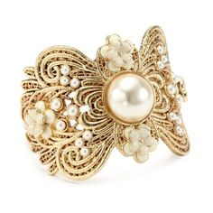 """Jessica Simpson """"Love Lace Gold"""" Cuff Bracelet ($58) ❤ liked on Polyvore"""
