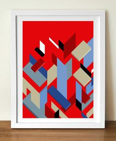 Mid century poster print, MIESS PIECES Geometric shapes, A3 (11 x 17), artists giclée print, red