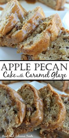 Apple Pecan Cake with Caramel Glaze is a scrumptious cake recipe loaded with apples and pecans, topped with a caramel glaze. Köstliche Desserts, Delicious Desserts, Dessert Recipes, Yummy Food, Tasty, Food Cakes, Cupcake Cakes, Cupcakes, Apple Cake Recipes