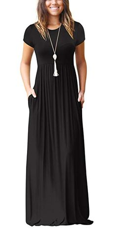 013e8bbf8ded Freemale Womens Short Sleeve Crewneck Solid Casual Long Maxi Dresses with  Pockets Plus Size, Black