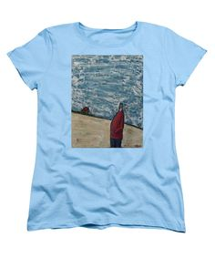 People Women's T-Shirt (Standard Cut) featuring the painting Red Coated Dinner Guest by Mario Perron http://1-mario-perron.pixels.com/ #style #art