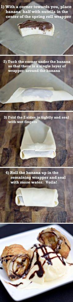 Ohhhh, dit lijkt me wel heel erg lekker. Banaan, Nutella en bladerdeeg. Oven in en klaar.