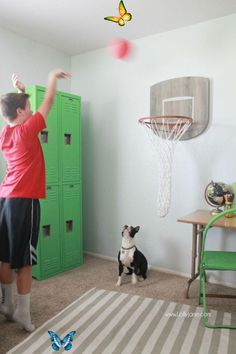 Wall mounted basketball hoop gives an interactive touch to this sports themed room.<br> Industrial Boys Rooms, Vintage Industrial Decor, Industrial Bedroom, Industrial Interiors, Vintage Decor, Industrial Shop, Industrial Restaurant, Kitchen Industrial, Industrial Apartment