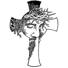 An easy, but meaningful tattoo flash of the Christian cross with a Jesus's portrait inside.