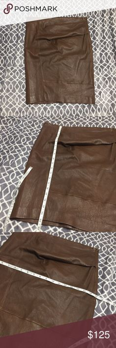 Brunello cucinelli brown leather skirt Has some wrinkling. Otherwise in excellent condition! Brunello Cucinelli Skirts Pencil