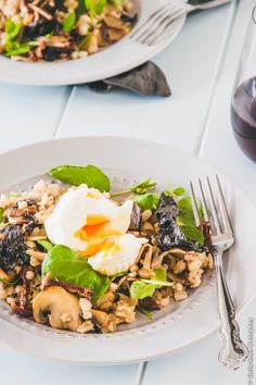 A delicious and hearty vegetarian salad of pearl barley and wild mushrooms topped with a poached egg.