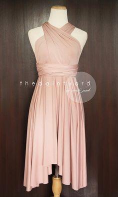 Naakt roze bruidsmeisje jurk converteerbare jurk door thedaintyard