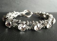 Rhinestone Bracelet - Bridal Jewelry - Silver Bracelet - Elegant Bracelet - Prom Jewelry - Homecoming Bracelet - Cocktail Bracelet - Gift
