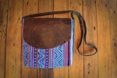 NZFINCH boho bag brown leather and vintage batik fabric by NZFINCH, $84.00
