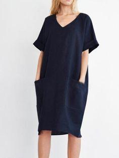 752b64cb7239 Plus Size Solid Casual Pockets Shift Summer Midi Dress Φορέματα Για  Γεμάτες