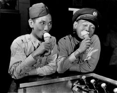 Chinese pilots enjoy ice cream cones at an Allied canteen during the Burma Campaign following the Allied recapture of the Ledo Road (renamed the Stilwell Road) from the Japanese. Near Myitkyina, Kachin State, Burma (Myanmar). January 1945. Pin by Paolo Marzioli