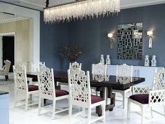 Awful Crystal Glass Rectangle Chandelier Dining Room Lighting Over White Wooden Carving Dining Chairs Set Also Black Rectangle Dining Table As Well As Blue Wall Painted In Venetian Dining Room Decors