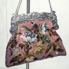 Vintage Great French Antique Pictorial Micro Beaded Purse Reticule Silver 1830   eBay